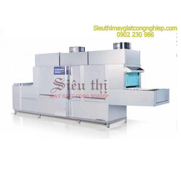 Máy rửa khay bát chén công nghiệp băng tải có sấy dùng hơi Prime PMFE-600SD